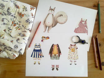 Little squirrel paper doll by Lu-Art