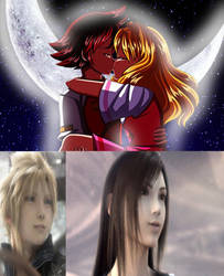 Cloud and Tifa are happy with Chris and Helen kiss by Anime--Bunny
