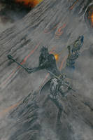 Sauron vs. Elendil and Gil-galad on Orodruin by KipRasmussen