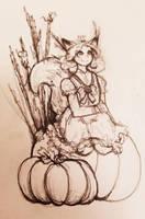 Inktober Day 2 - Tranquil Fox Girl by Mr-Taradiddle