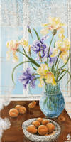 Irises with apricots by AnnaZLove