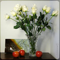 White roses and three apples 1 by AnnaZLove