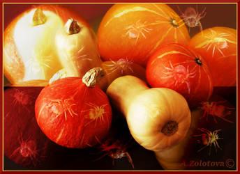 Pumpkins on Halloween night by AnnaZLove