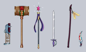 Mane 6 inspired fantasy weapons by TheSpectral-Wolf