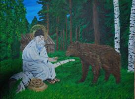 St. Seraphim of Sarov (with Bear) by CodyVBurkett