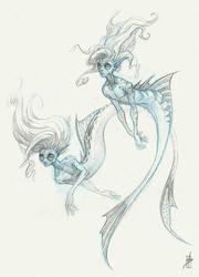 Mermaids Sketch by Zhrayde