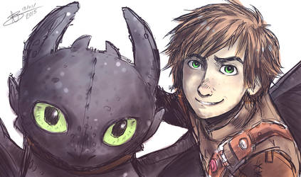 HTTYD2 - Hiccup and Toothless - Sai by ABD-illustrates