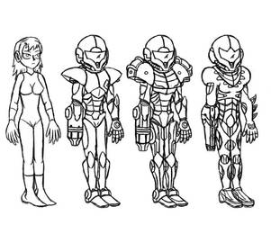 Samus Aran suits by Ruyc