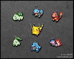 Bead charms - Starter Pokemon Generation 1 - 2 by VioletValhalla