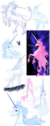 The last Unicorn Sketch Bunch1 by RedPassion