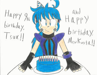 Tsux and Mew's Birthdays - 2018 by falconvillager