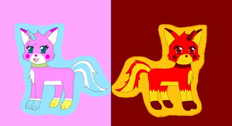 Unikitty and Angry Unikitty by Kitsune257