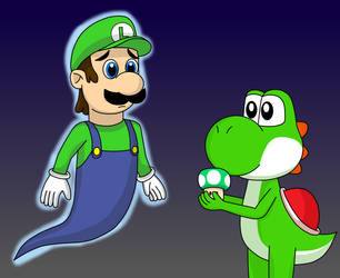 Ghost Luigi and Yoshi by Kitsune257