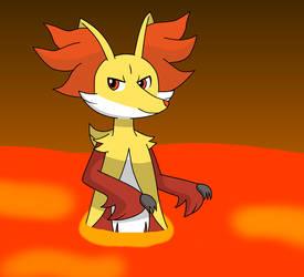 Delphox in lava bath by Kitsune257
