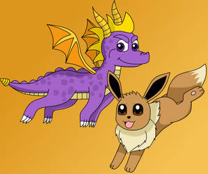 Spyro and Eevee by Kitsune257