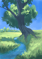 Tree by the creek [with process video] by fabianrensch