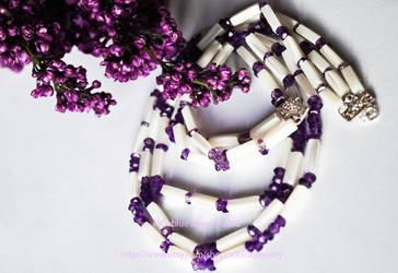 Purple Rain faced amethyst freestyle trio necklace by Soooblue