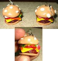 Polymer clay - burger earrings by SarahRose