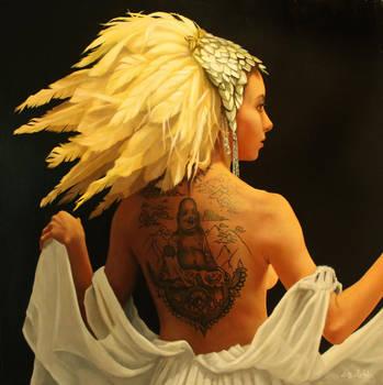 Cleopatra. oil on linen 50cm sq. by graemeb