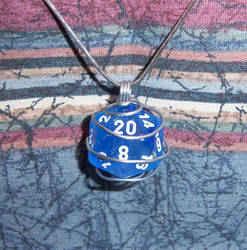 Sparkly Blue wire wrapped D20 by soupisgreen