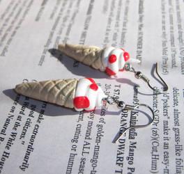 Toadstool Ice Cream Earrings by soupisgreen