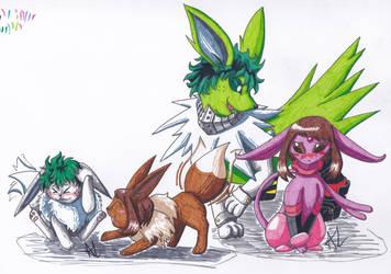 MHA Pokemon - IzuOcha Eeveelutions 1 by Ama-Encyclopika
