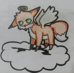 Angelic fox in a cloud by everlasting-mystic