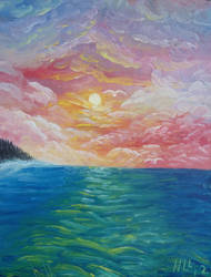 oil sunset over water by Poess