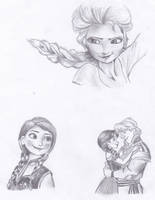 DisneyFrozen-Elsa, Anna and Kristoph by MlleBeckieR