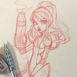 Samus Aran Sketch by ChrissieZullo