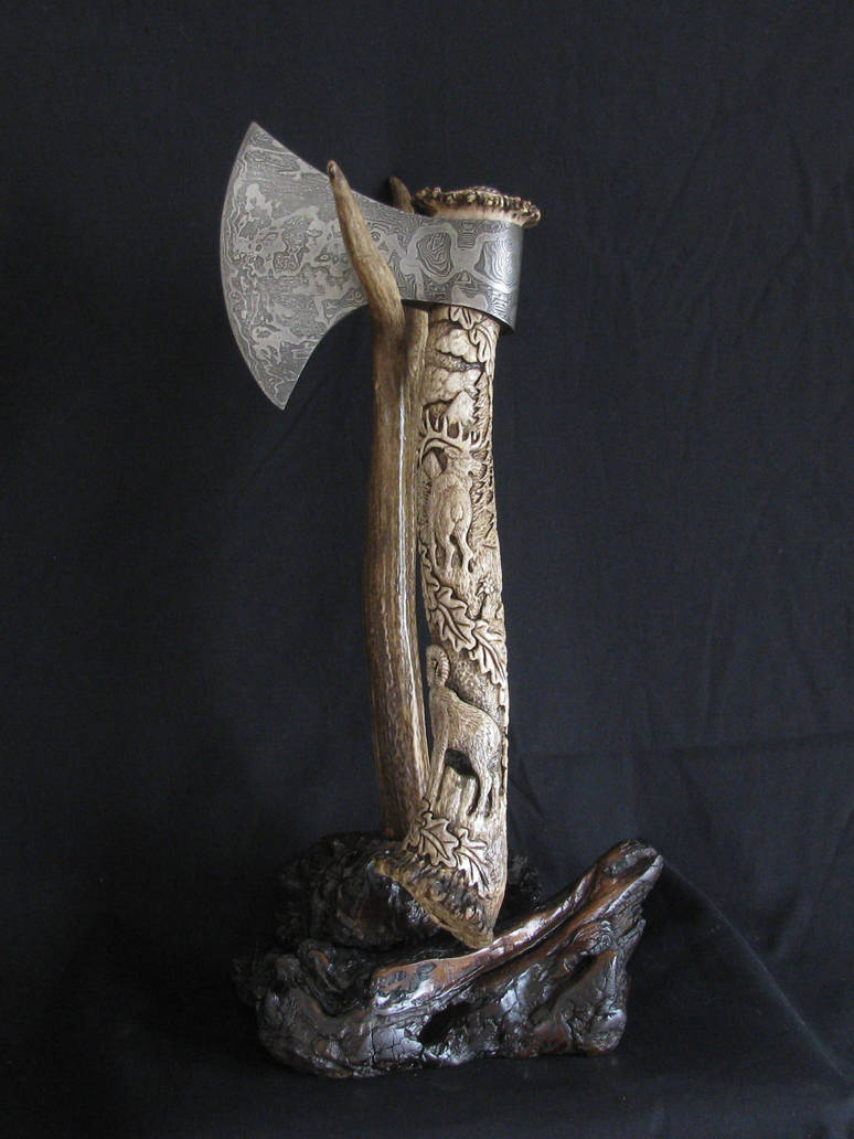 Damascus Rocky Mountain Elk Axe by ZachariahBusch