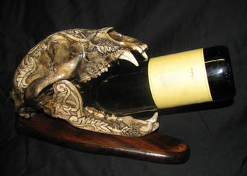 Bear Skull Wine Bottle Stand by ZachariahBusch