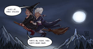 Lords and Ladies__Nanny Ogg and Casanunda by BlackBirdInk