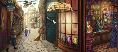 Diagon Alley by BlackBirdInk