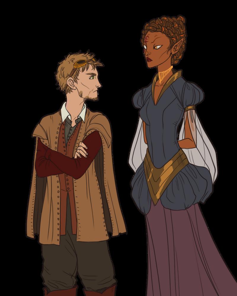 Couples Sketch__Myrick and Anunit by BlackBirdInk
