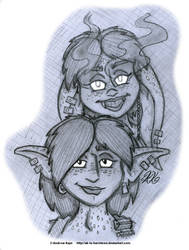 Sketch - Fortuna and Folly Heads by AK-Is-Harmless
