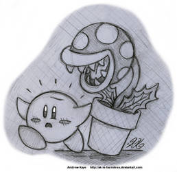 Sketch - Kirby and Piranha Plant by AK-Is-Harmless