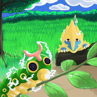 Manectric stuns a Caterpie by gothYvonne