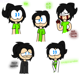 Rossan in different versions (Hello Neighbor Oc) by FlorCute2002