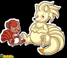 Chubby Vulpix and Ninetales by MeckelFoxStudio