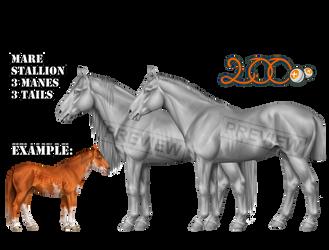 Warmblood Horse Greyscale P2U by konikfryzyjski