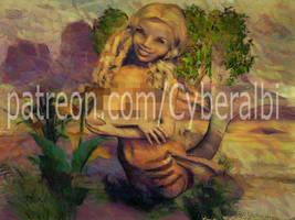 Nude mermaid girl by Cyberalbi