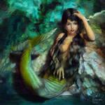 Nude mermaid girl or sexy mergirl by Cyberalbi