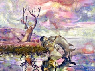 Mermaid and centaur girls art Video by Cyberalbi