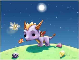 Chibi Sparx and Spyro by capsicum