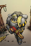 Iron Warriors Legionaire with a Meltagun by MistyMiasma