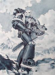 Ultramarine Tyranid Hunter Watercolor by LynxC