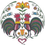 Rooster Fraktur by Jewelfly