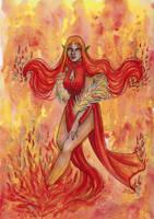 Inktober 2018: Fire Elemental by ArunaWolf