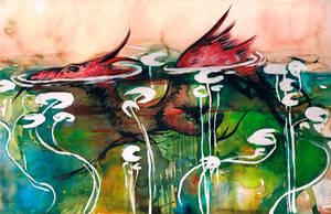 Among Waterlilies O Ka Fee by RubisFirenos